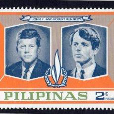 Selos: ASIA. FILIPINAS. DERECHOS HUMANOS. JOHN Y ROBERT KENNEDY. NUEVO CON CHARNELA. Lote 224144056