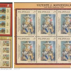 Sellos: O) 2010 FILIPINAS, ARTE, PINTURAS - VICENTE S. MANANSALA, CENTENARIO DE NACIMIENTOS, MINI HOJA, SET. Lote 225571935