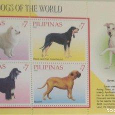 Sellos: O) FILIPINAS 2010, PERROS INTELIGENTES DEL MUNDO, AMERIKAN ESKIMO, COONHOUND, AFGHAN HOUND, MASTIFF,. Lote 225580500