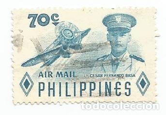 SELLO USADO DE FILIPINAS DE 1955- CORREO AEREO- CESAR FERNANDO BASA- YVERT 54- VALOR 70 CENTAVOS (Sellos - Extranjero - Asia - Filipinas)