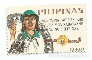 SELLO USADO DE FILIPINAS DE 1966-25 AÑOS DE LAS GIRL SCOUTS- YVERT 645- VALOR 10 CENTIMOS (Sellos - Extranjero - Asia - Filipinas)