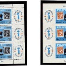 Sellos: FILIPINAS - PILIPINAS 1977 - ESPAMER 77 BARCELONA - AMERICA Y EUROPA - 2 HB DENTADA Y SIN DENTAR. Lote 231247250