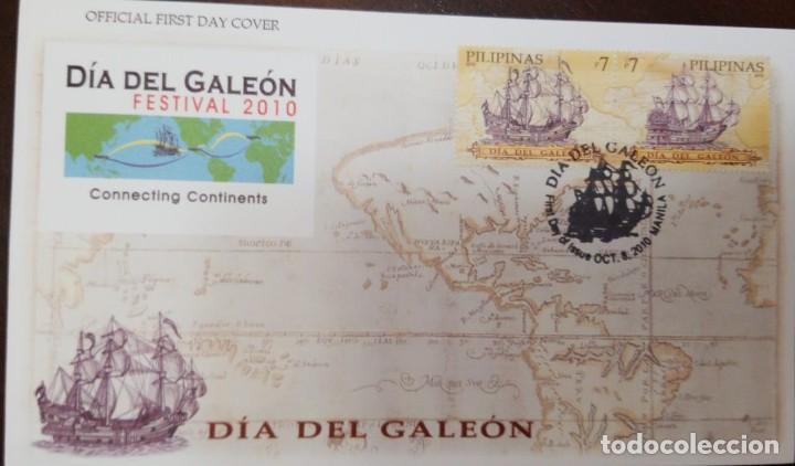 O) FILIPINAS 2010, DÍA DE GALEÓN, MAPA DE RUTA. CONECTANDO CONTINENTES, BARCO ESPAÑOL. FDC XF (Sellos - Extranjero - Asia - Filipinas)