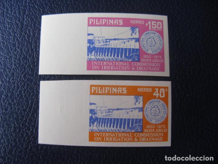*FILIPINAS, 1975, 25 ANIV. COMISION INTERNACIONAL DE IRRIGACION Y DRENAJE, YVERT 991/92 SIN DENTAR (Sellos - Extranjero - Asia - Filipinas)