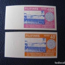 Francobolli: *FILIPINAS, 1975, 25 ANIV. COMISION INTERNACIONAL DE IRRIGACION Y DRENAJE, YVERT 991/92 SIN DENTAR. Lote 237921145