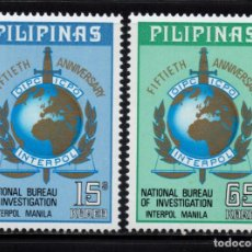 Sellos: FILIPINAS 943/44** - AÑO 1973 - 50º ANIVERSARIO DE INTERPOL. Lote 252875180