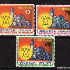 Sellos: FILIPINAS 1135/37** - AÑO 1979 - 4º CENTENARIO DE LA ARCHIDIOCESIS DE MANILA. Lote 252875215