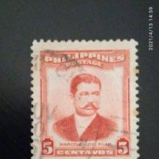 Sellos: FILIPINAS 5 CENTS MARCELO H. DEL PILAR AÑO 1952.. Lote 256066935
