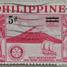 Sellos: 1955. FILIPINAS. 430. VOLCÁN ALBAY. CINCUENTENARIO DEL ROTARY INTERNATIONAL. USADO.. Lote 256162370
