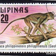 Sellos: ASIA. FILIPINAS. FAUNA. MACACO FILIPINO. USADO SIN CHARNELA. Lote 260282530