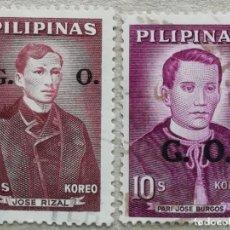 Sellos: 1962. FILIPINAS. SERVICIO 90, 92. HÉROES: JOSÉ RIZAL, PADRE JOSÉ BURGOS. SOBREIMPRESIONADO. USADO.. Lote 260529980