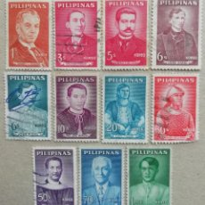 Sellos: 1962. FILIPINAS. 537 / 546. PERSONAJES DE LA HISTORIA DE FILIPINAS. SERIE COMPLETA. USADO.. Lote 278796943