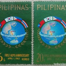 Sellos: 1963. FILIPINAS. 573 / 574. UNIÓN POSTAL DE ASIA Y OCEANÍA. SERIE COMPLETA. USADO.. Lote 278797663