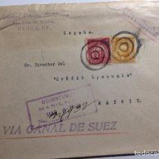 Sellos: CUBIERTA MANILA - MADRID 1926 CERTIFICADO VIA CANAL DE SUEZ. Lote 287974273