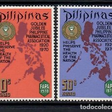 Francobolli: FILIPINAS (1970). 50 ANIV. ASOCIACIÓN FARMACÉUTICA FILIPINA. SERIE COMPLETA NUEVA*** SIN FIJASELLOS.. Lote 289525763