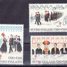 Sellos: FINLANDIA 755/7 SIN CHARNELA, PRO TUBERCULOSOS, MUSICA, DANZA, BODA, . Lote 9765897