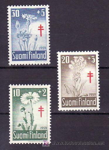 FINLANDIA 486/8 CON CHARNELA, PRO TUBERCULOSOS, FLORES, (Sellos - Extranjero - Europa - Finlandia)