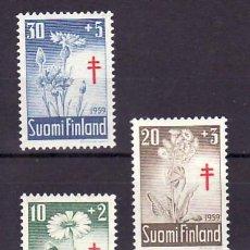 Sellos: FINLANDIA 486/8 CON CHARNELA, PRO TUBERCULOSOS, FLORES, . Lote 11678542