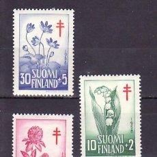 Sellos: FINLANDIA 472/4 CON CHARNELA, PRO TUBERCULOSOS, FLORES, . Lote 9784551