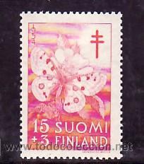 FINLANDIA 418 CON CHARNELA, PRO TUBERCULOSOS, INSECTOS, MARIPOSA (Sellos - Extranjero - Europa - Finlandia)
