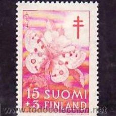 Sellos: FINLANDIA 418 CON CHARNELA, PRO TUBERCULOSOS, INSECTOS, MARIPOSA. Lote 9784920