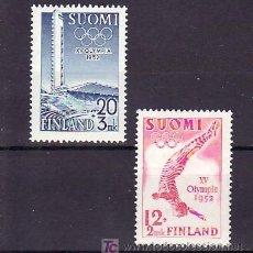 Sellos: FINLANDIA 382/3 CON CHARNELA, DEPORTE, PROPAGANDA DE LOS JUEGOS OLIMPICOS DEL 1952. Lote 9784962