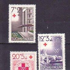 Sellos: FINLANDIA 375/7 CON CHARNELA, CRUZ ROJA, DONANTE DE SANGRE,. Lote 9785000