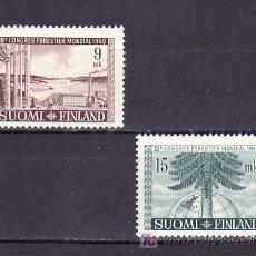 Sellos: FINLANDIA 354/5 CON CHARNELA, 3º CONGRESO FORESTAL MUNDIAL EN HELSINKI, . Lote 9785097
