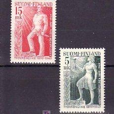 Sellos: FINLANDIA 352/3 CON CHARNELA, 50º ANIVERSARIO CREACION MOVIMIENTO OBRERO. Lote 11614403
