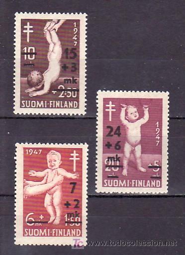 FINLANDIA 338/40 CON CHARNELA, PRO TUBERCULOSOS, INFANCIA, SOBRECARGADO (Sellos - Extranjero - Europa - Finlandia)