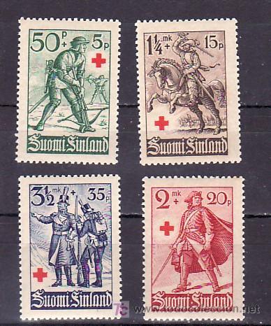 FINLANDIA 214/7 CON CHARNELA, CRUZ ROJA, SOLDADOS A TRAVES DE LOS AÑOS, (Sellos - Extranjero - Europa - Finlandia)