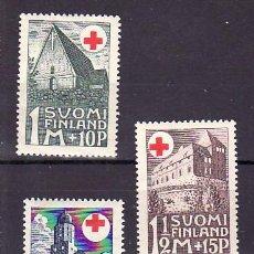 Sellos: FINLANDIA 161/3 SIN CHARNELA, CRUZ ROJA, ARQUITECTURA,. Lote 11780887