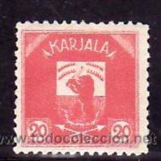 Sellos: FINLANDIA CARELIA 14 CON CHARNELA, ESCUDO, FAUNA, . Lote 10834306