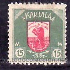 Sellos: FINLANDIA CARELIA 13 CON CHARNELA, ESCUDO, FAUNA, . Lote 10834307