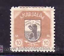 FINLANDIA CARELIA 12 CON CHARNELA, ESCUDO, FAUNA, (Sellos - Extranjero - Europa - Finlandia)