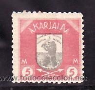 FINLANDIA CARELIA 11 CON CHARNELA, ESCUDO, FAUNA, (Sellos - Extranjero - Europa - Finlandia)