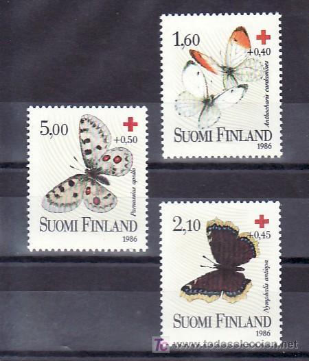 FINLANDIA 957/9 SIN CHARNELA, FAUNA, MARIPOSAS, CRUZ ROJA, (Sellos - Extranjero - Europa - Finlandia)