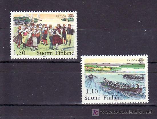 FINLANDIA 845/6 SIN CHARNELA, TEMA EUROPA 1981, FOLKLORE, DEPORTE, REMO, MUSICA, (Sellos - Extranjero - Europa - Finlandia)