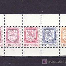 Sellos: FINLANDIA 833 (5 VALORES) HOJA DE CARNET SIN CHARNELA, ESCUDO, . Lote 10865969