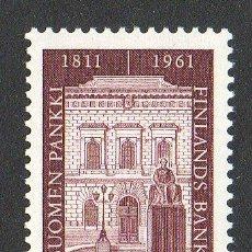Sellos: FINLANDIA AÑO 1961 YV 516* 150 ANVº DE LA BANCA FINLANDESA - ARQUITECTURA - ESCULTURA - ARTE. Lote 15696691