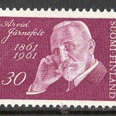 Sellos: FINLANDIA AÑO 1961 YV 517* CENTº NACIMIENTO DEL ESCRITOR ARVID JARNEFELT - LITERATURA - PERSONAJES. Lote 15696741