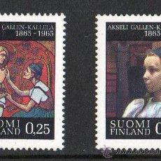 Sellos: FINLANDIA AÑO 1965 YV 570/71* CENTº DEL NACIMIENTO DE A. GALLEN KALLELA - PINTURA - ARTE. Lote 15699080