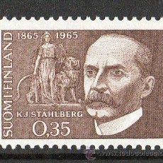 Sellos: FINLANDIA AÑO 1965 YV 568* CENTENARIO DEL NACIMIENTO DE K.J. STAHLBERG - POLÍTICO - PERSONAJES. Lote 15699280