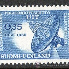 Sellos: FINLANDIA AÑO 1965 YV 577* CENTENARIO DE LA U.I.T. - TELECOMUNICACIONES - ARQUITECTURA. Lote 15699374