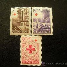 Sellos: FINLANDIA 1951 IVERT 375/7 *** EN BENEFICIO DE LA CRUZ ROJA - DONACIÓN DE SANGRE. Lote 21965797