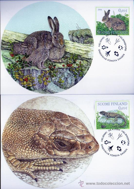 Sellos: FINLANDIA AÑO 2004 6 TMX - FAUNA - AVES - REPTILES - ANIMALES DEL BOSQUE - MAMÍFEROS - NATURALEZA - Foto 2 - 26837881