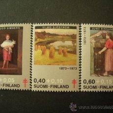 Sellos: FINLANDIA 1973 IVERT 694/6 *** CENTENARIO NACIMIENTO PERSONAJES - PINTURA. Lote 27540639