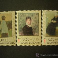 Sellos: FINLANDIA 1975 IVERT 735/7 *** PRO ANTITUBERCULOSIS - PINTURAS DE MUJERES FAMOSAS. Lote 27631260