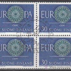 Sellos: FINLANDIA IVERT 501, EUROPA 1960, USADO EN BLOQUE DE 4 (ES SERIE COMPLETA). Lote 27904710