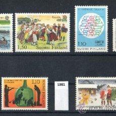 Sellos: FINLANDIA AÑO 1981 YV*** LOTE 6 SERIES COMPLETAS - EUROPA - FOLKLORE - NIÑOS - ARTESANÍA - NAVIDAD. Lote 28853384
